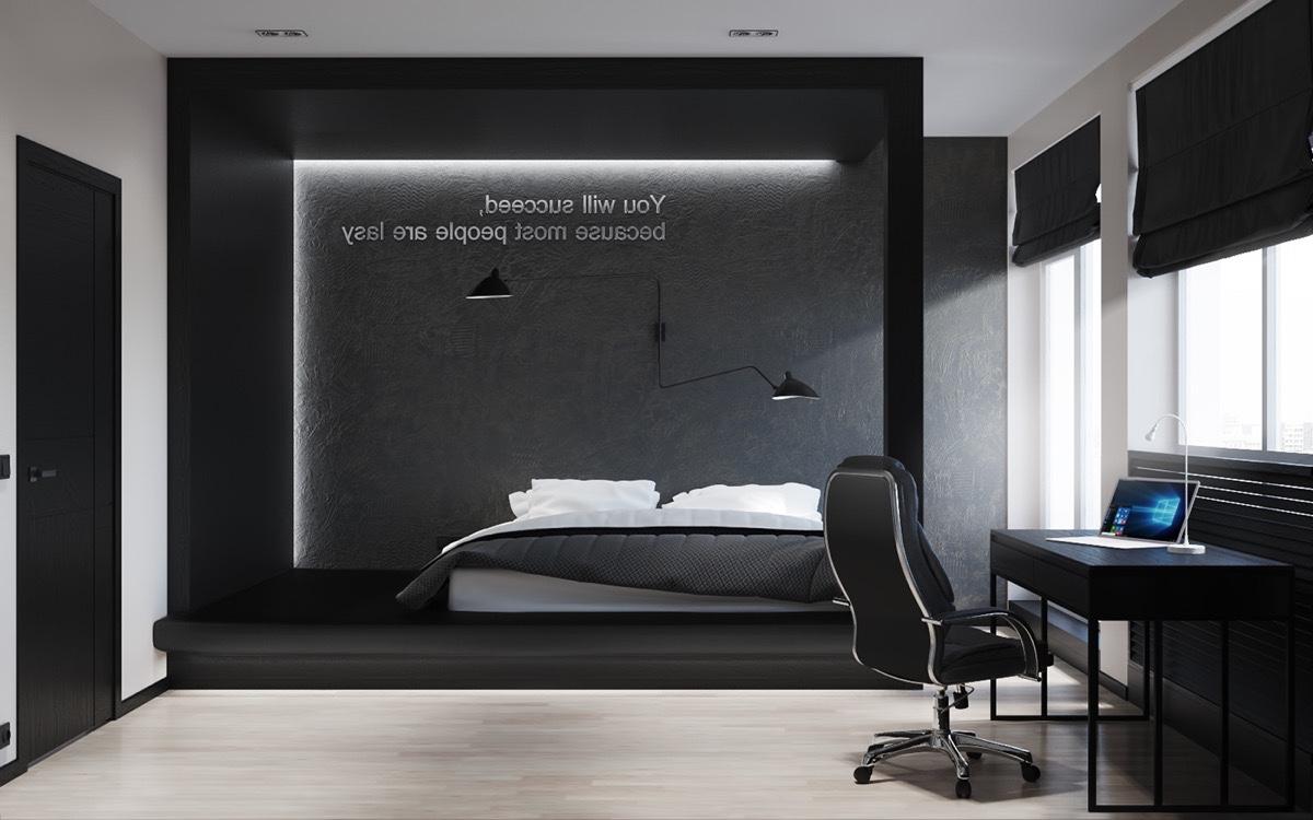 26 photos d coration chambre a coucher moderne noir et - Living room black and white theme ...